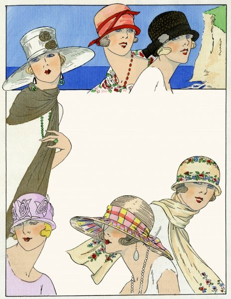 A selection of stylish summer hats from the 1920s. The three at the top are designed by Agnes, the three lower ones by Lucie Hamar