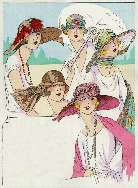 A selection of stylish summer hats from the 1920s. The three at the top are by Marie Crozet, and the lower two are by Maria Guy