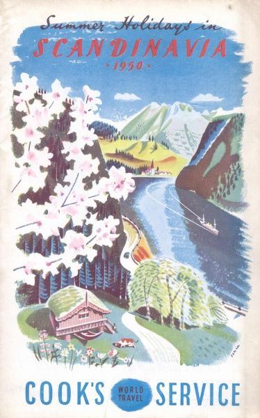 Cover illustration for Summer Holidays in Scandinavia, with Cook's World Travel Service. An aerial view of a wooden chalet near a fjord on which a cruise ship is sailing. A colourful scene with pink blossom in the foreground