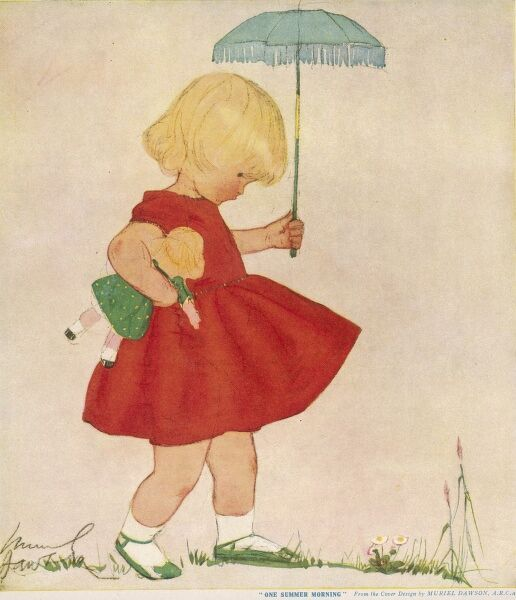 Charming illustration of a little blonde girl in a fetching red dress and green shoes walking through a garden with a doll in one hand and a miniature parasol in the other