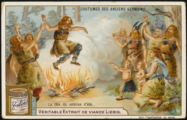 Fires were lit at solstices and equinoxes by the ancient Germans : the fires cured their ailments, and the ashes scattered in the fields ensured fertility