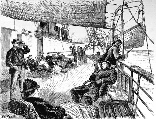 Engraving of the scene on the deck of trans-atlantic liner, with passengers on sun loungers