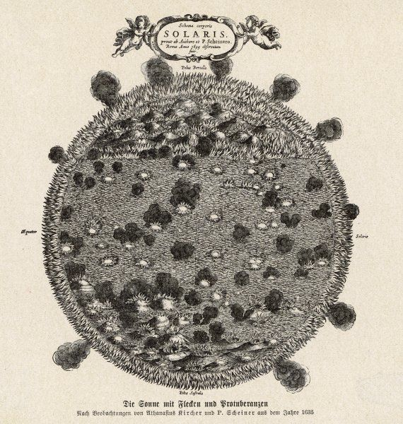 The sun conceived as a mass of burning carbon. Date: 1635