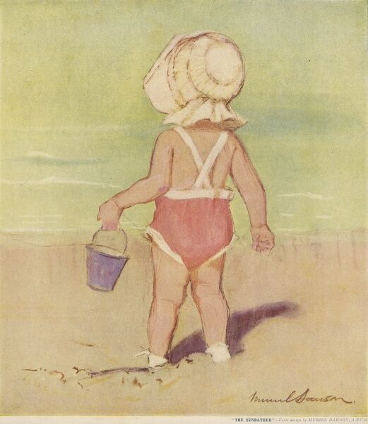 Back view of a little girl dressed in a swimsuit and sun bonnet while playing with a bucket on a sandy beach