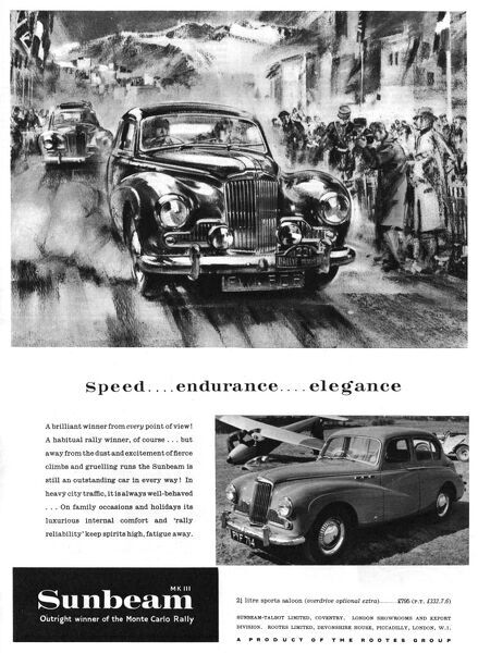 Speed...endurance...elegance. The Sunbeam, Mk III, outright winner of the Monte Carlo Rally. Date: 1955