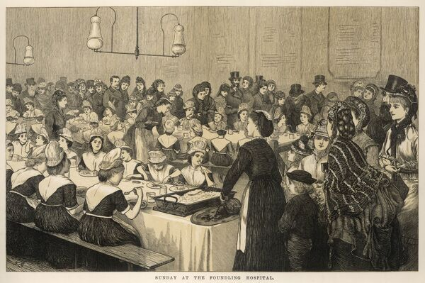 This is a scene on sunday at the Foundling Hospital where orphans are sitting down to a meal on long tables and being served by young women in aprons and caps. In the foreground, wealthy looking patrons appear to be witnessing the scene