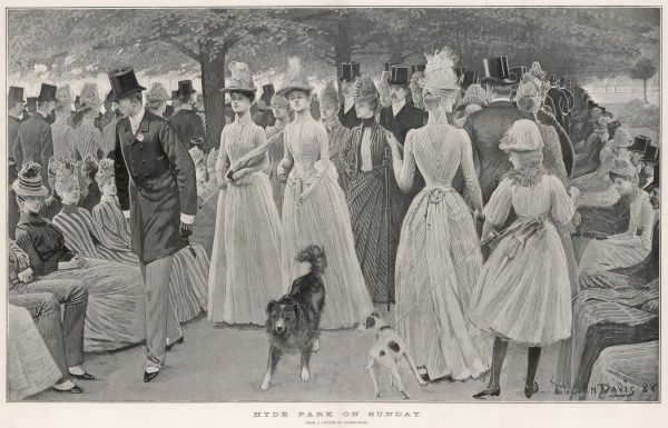 The fashionable 'Church Parade' in Hyde Park on a Sunday morning -- the Best People walk up and down in the Row