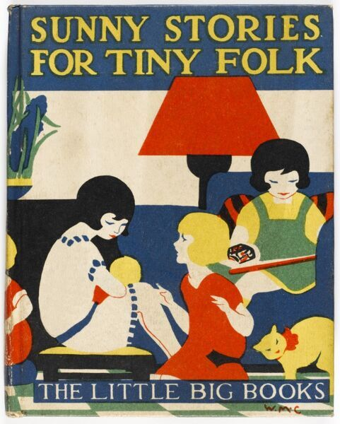 Stylised front cover illustration of a children's book from the 1920s showing three little enjoying a cosy afternoon knitting and reading