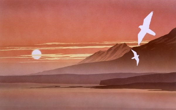 A sunset Fantasy landscape, with two birds of prey (Peregrine Falcons?) swooping across a landscape of high peaks, a still sea and enveloping mists against the descending, pale glowing orb of the sun. Airbrush painting by Malcolm Greensmith