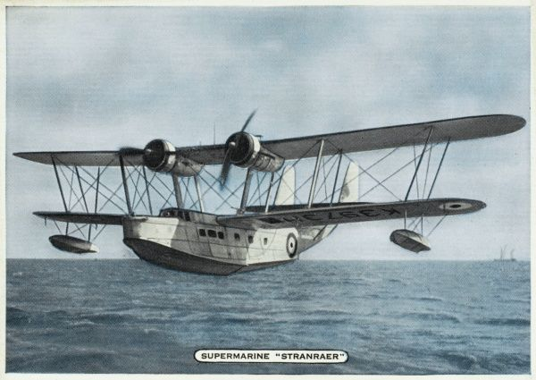 One of the last of the stately biplane flying boats, the 'Stranraer' is the first of its kind with an enclosed cockpit : it will be obsolete by WW2
