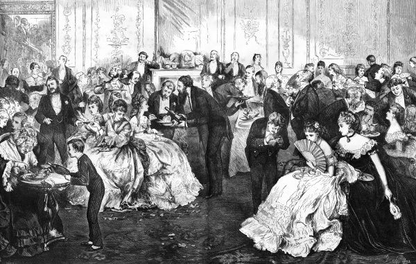 Supper time at a high society dance. Date: 1872