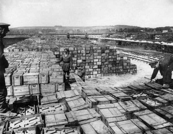 A supply dump behind British lines at Beaurainville, northern France, during the First World War. Date: 1917