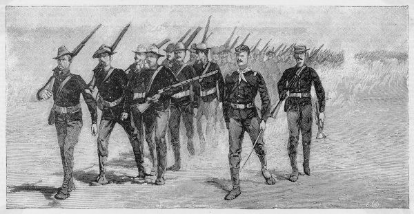 A column of U.S. infantry on the march against the Sioux, who are staging a 'rebellion' on account of supposed grievances against the kindly and benevolent government. Date: 1890