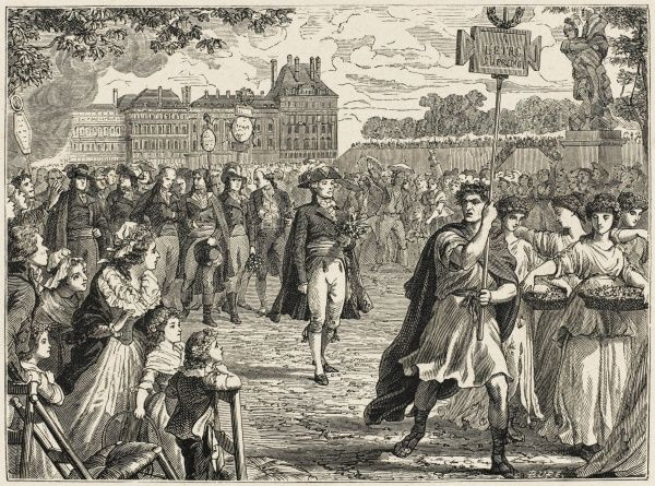 Robespierre orders a Festival of the Supreme Being, in the Tuileries and the Champ de Mars, Paris : but he is thought by many to be setting himself up as high priest