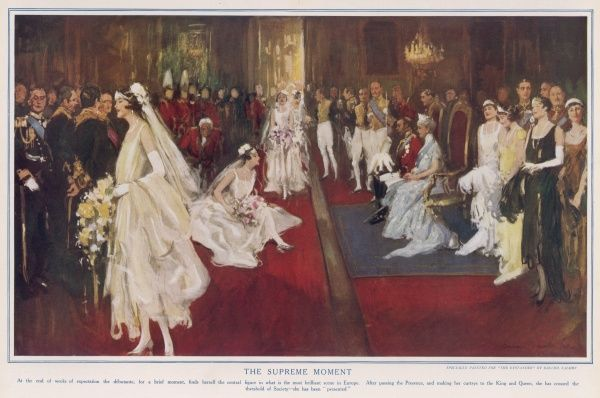 "Debutantes, clad in their finery curtsey to King George V and Queen Mary during a court presentation. Thus they are launched into ""Society&quot"