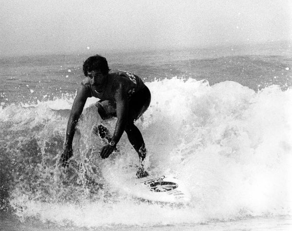 A competitor in the surfing championships at Newquay in Cornwall