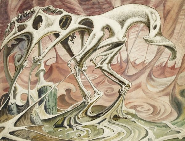 A surreal skeletal abstraction on the form of a horse. Painting by Raymond Sheppard
