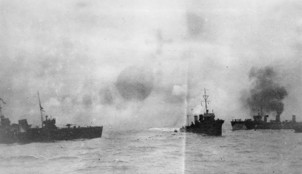Survivors from the disabled German armoured cruiser SMS Blucher being picked up by British destroyers during the Battle of Dogger Bank, in the North Sea, First World War. The rescue had to be called off due to aerial bombardment, and many lives were lost