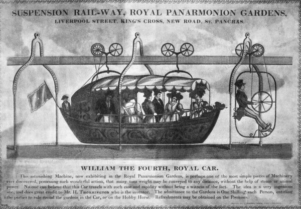 An advertising flyer or notice for a Suspension Rail-way, Royal Panarmonion Gardens, Liverpool Street, King's Cross, New Road, St Pancras in London. Mr H Thorrington is the inventor of 'this astonishing Machine, possessing such wonderful action