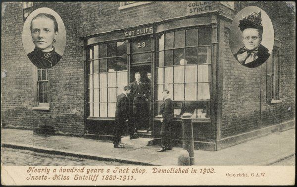 Sutcliff's tuck shop, patronised by Westminster schoolboys, demolished in 1903; Miss Sutcliff in 1880 and 1911 is inset