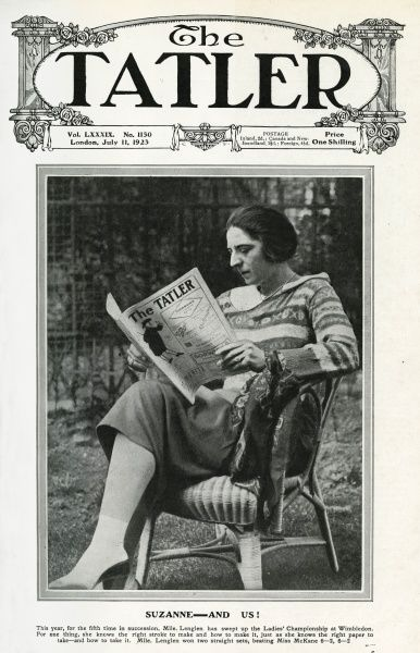 """Suzanne and Us"" Suzanne Lenglen (1899-1938) who had just won the The Ladies Tennis Championship at Wimbledon for the fifth time in succession, pictured reading a copy of The Tatler Date: 1923"