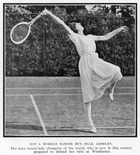 French tennis player Suzanne Lenglen preparing to defend her Wimbledon title in 1921. Lenglen dominated women's tennis during the early 1920s, winning the Wimbledon women's singles championship six times