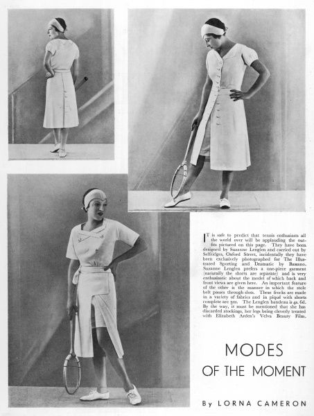 A page depicting the outfits designed and modelled by Suzanne Lenglen for Selfridges, shown exclusively in the Illustrated Sporting and Dramatic News
