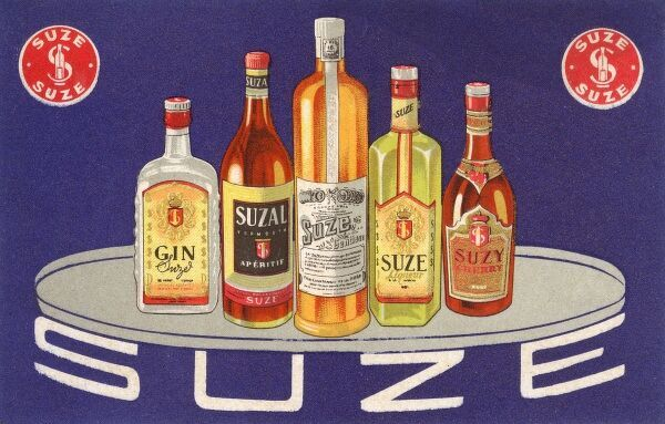 Suze Alcoholic Drinks, including Vermouth, Gin, Fruit Liqueur, Cherry brandy and (centre) an Aperitif made from fermented Gentian. Date: circa 1930s
