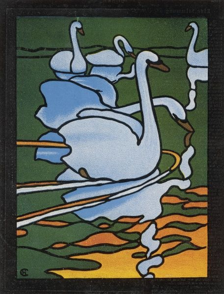 Second of two designs for stained glass depicting swans in the water. (Cygnus olor)