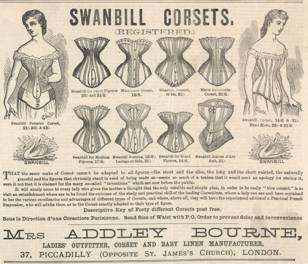 Mrs Addley Bourne offers her 'Swanbill' corsets at her shop in Piccadilly, where 'une corsetiere Parisienne' is ready to assist and advise