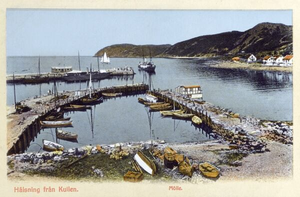Greetings from the Kulla Peninsula, Molle, Sweden - The Harbour and customs house Date: circa 1908