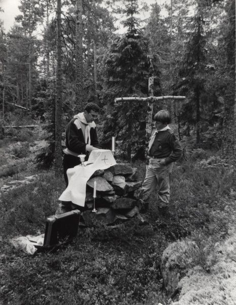 Swedish Scouts building an altar in the forest. circa 1960s