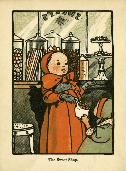 The Sweet Shop. A young toddler hands her friend a selection of sweets chosen from the tall glass jars in the shop window