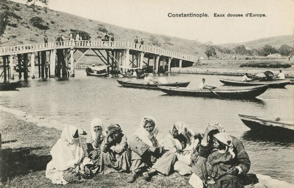 Group of Gypsies seated by the Sweet Waters, Constantinople, Turkey