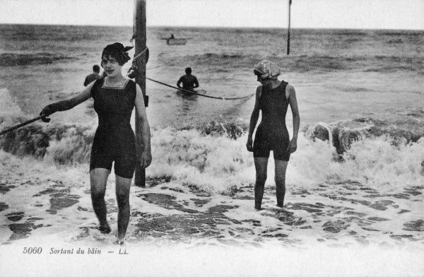 SORTANT DU BAIN - French girls come out of the water after their swim : note the safety rope - 'la corde'- which saves them from being swept out to sea
