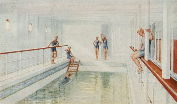 The swimming bath of the ill- fated passenger liner RMS Titanic depicting bathers enjoying the exercise