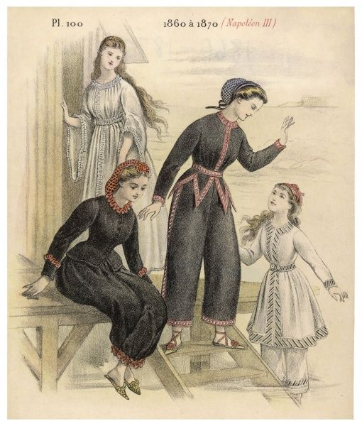 French 'costumes de bains de mers' for women & children