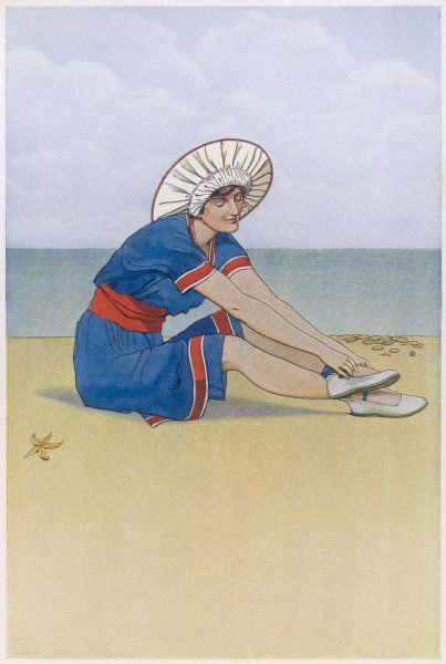 A bather, in bathing costume and protective hat, stops to adjust her shoe