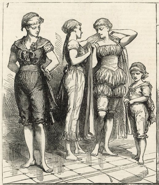 Swimwear worn at a ladies' swimming competiton include two-piece costumes with knickerbockers or trousers & a blouse with sailor collar or with gathers & a Swiss belt