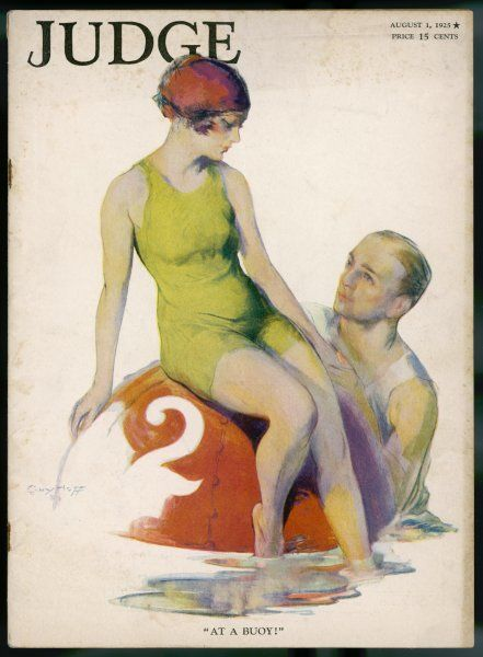 A lime green tank style one- piece bathing costume worn with a red bathing cap