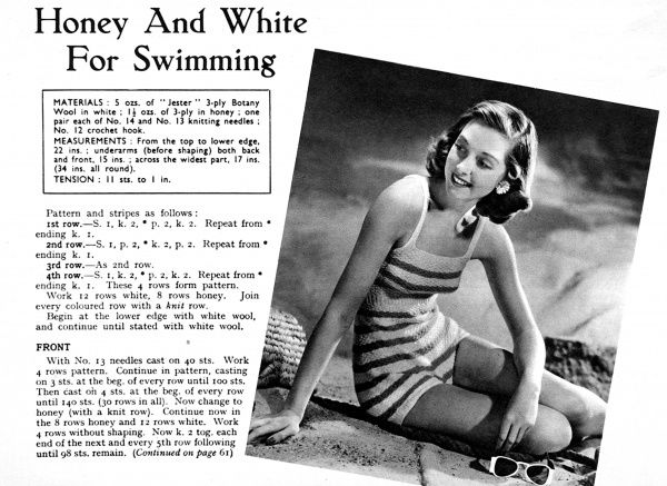 Illustration showing a honey and white striped, all-in-one bathing suit knitting pattern, 1948