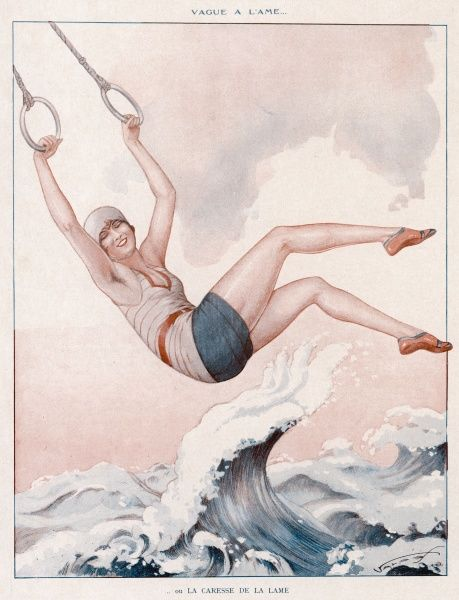 A happy young woman swings over the waves