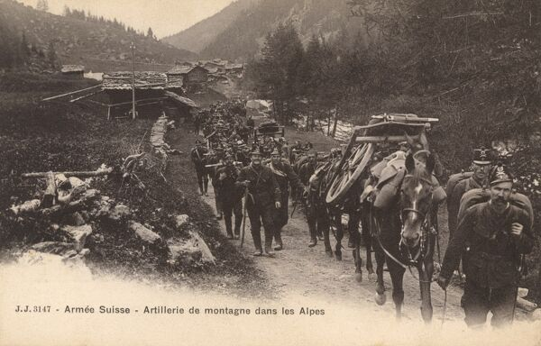Mountain Artillery of the Swiss Army on a march in the Alps. Date: circa 1909