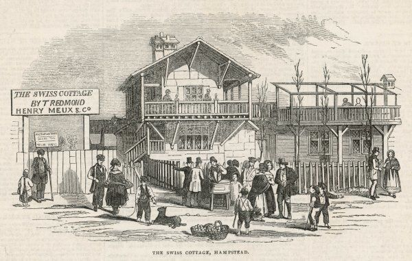 The Swiss Cottage, with street traders milling around outside
