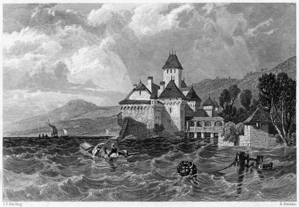 The chateau de Chillon on lake Geneva was from 1530 to 1536 the prison of Bonivard, who was chained to a pillar and inspired a poem by Byron