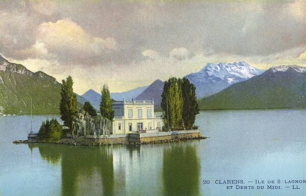 Switzerland - Ile de Salagnon and Dents de Midi Mountain. At Clarens, near Montreux on Lake Geneva. Date: circa 1910