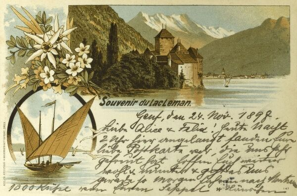 Switzerland - Lac Leman (Lake Geneva), featuring Chillon Castle and a traditional barque boat Date: 1898