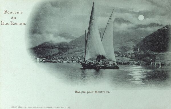 Switzerland - Lac Leman (Lake Geneva) in the moonlight, featuring a traditional barque boat sailing off the shore close to Montreux (visible in the background). Date: circa 1898