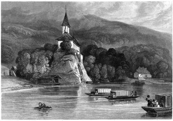 Whether or not William Tell ever existed, his chapel overlooks lake Geneva. Date: circa 1835