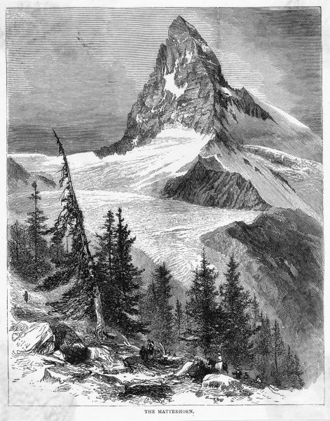 The peak of the Matterhorn seen from Zermatt : it was first climbed by a party led by Edward Whymper, who reached the summit on 14 July 1865